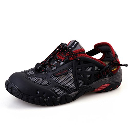 BEACHR Beach Sandals Men's Lightweight Sneakers Outdoor Sports Breathable Shoes Red 10 by BEACHR