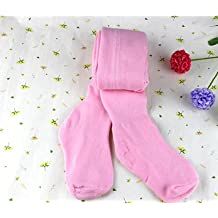 Embiofuels(TM) Autumn Pink White Ballet Dance Tights Baby Girls Children Terry Warm Pantyhose[ Pink M ]