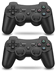 PS3 Controller 2 Pack Wireless 6-axis Dual Shock Gaming Controller for Sony Playstation 3 with Charging Cord (PS3 Controller 2 Pack, Black)