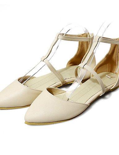 sintética oficina vestido 2 de piel zapatos Beige 4 de eu34 carrera mujer negro us4 casual plano 5 verde 5 cn33 punta PDX Flats y uk2 Toe green talón xXfqP66