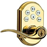 Kwikset 99110-007 SmartCode Electronic Lock with Tustin Lever Featuring SmartKey, Lifetime Polished Brass