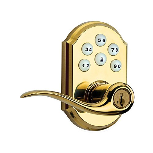 Kwikset 99110-007 SmartCode Electronic Lock with Tustin Lever Featuring SmartKey, Lifetime Polished Brass Kwikset