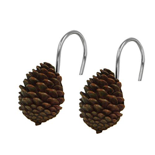 (Bacova Guild Pine Cone Silhouettes Shower Curtain Hooks Designed by Cynthia)
