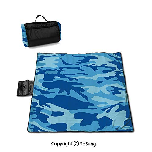 Camouflage Picnic Blanket with Tote,Abstract Camo Navy Military