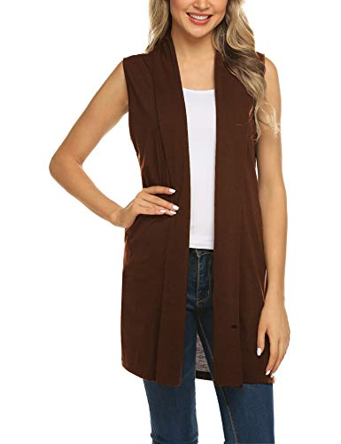Womens Long Vests Sleeveless Draped Waterfall Lightweight Open Front Cardigan Vest with Side Pockets Chocolate L