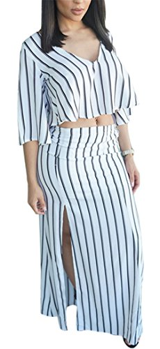 Womens Summer Sexy 2 Pieces Outfits Deep V-neck Striped Tank Top + Split Skirt Set Bandage Club Dress (S, as picture)