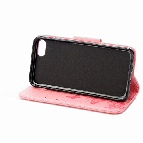 Custodia Apple iPhone 7 Cover Case, Ougger Fiore Farfalla Portafoglio PU Pelle Magnetico Stand Morbido Silicone Flip Bumper Protettivo Gomma Shell Borsa Custodie con Slot per Schede (Rose)