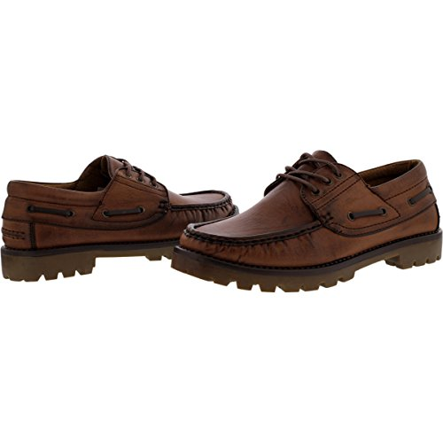 Brixton - Mens 3 Eye Lace Up Moc Toe Loafer - Brown w0Cnrk8Yi