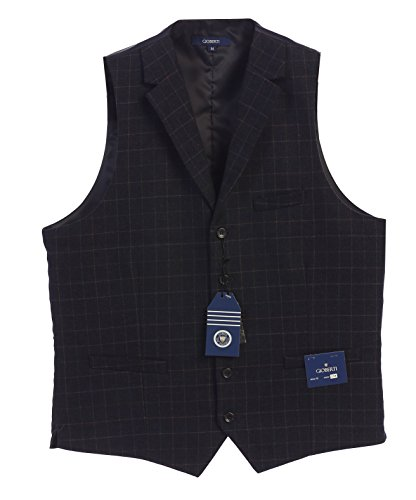 ton Tailored Collar Formal Tweed Suit Vest, Navy Gridwork, 5X Large (Five Button Suit Vest)
