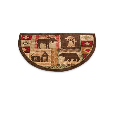 OSD Wildlife Bear Moose Hearth Rug Fire Resistant, Use at Cabin, Flame Retardant, Hunting Themed Half Moon Mat, Protects Floor Around Fireplace For Sale