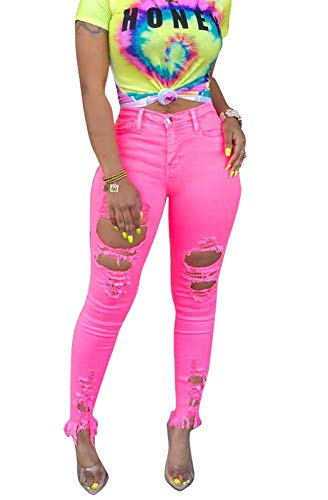 MarcoJudy Women's Butt-Lifting Skinny Pants Jeans Ripped Destroyed - Pink Womens Jeans
