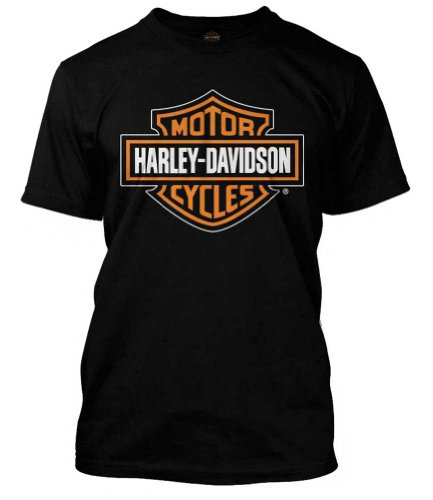 Harley-Davidson Men's Orange Bar & Shield Black T-Shirt 30290591 (XL)