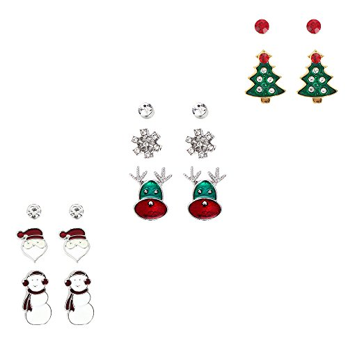 Price comparison product image iWenSheng Snowman Deer Santa Claus Christmas Tree X-mas Stud Earring Set for Women Girl by iWenSheng