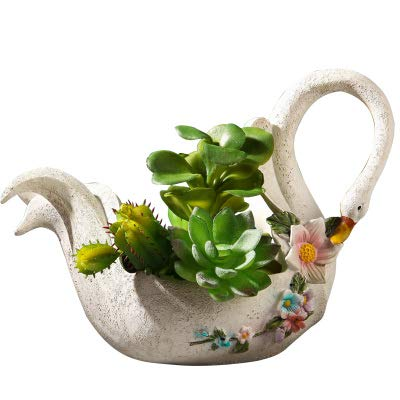 Worila Beautiful White Swan Shape Succulent Plant Pot Modern Handmade Resin Plant Pot / Flower Pot / Plant Container / Planter