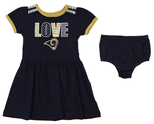 Outerstuff NFL Girl's Infant & Toddler (12M-4T) 2 Piece Dress, Los Angeles Rams 3T