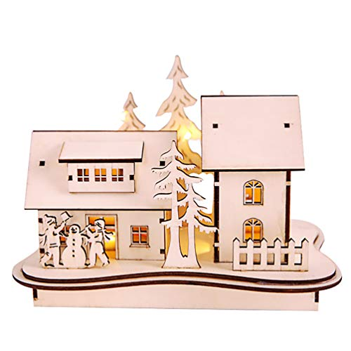 Floralby Christmas Wooden House Cabin Villa Glow in Dark Desk Tabletop Ornament Kids Xmas Gift (Cabin In The Woods Props For Sale)