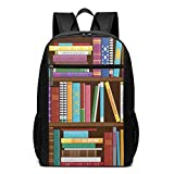 17 Inch School Laptop Backpack,Digital Drawing Graphic of Home Library with Books About Different Subjects Image,Casual Daypack for Business/College/Women/Men