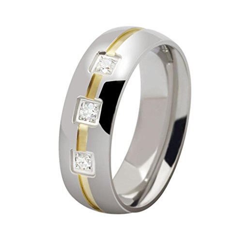 MoAndy Jewelry Stainless Steel CZ Cubic Zirconia Gold Silver Men's Rings US Size 13