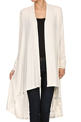 ReneeC. Women's Natural Bamboo Solid Open Front Draped Cardigan - Made in USA (3X-Large, Ivory)