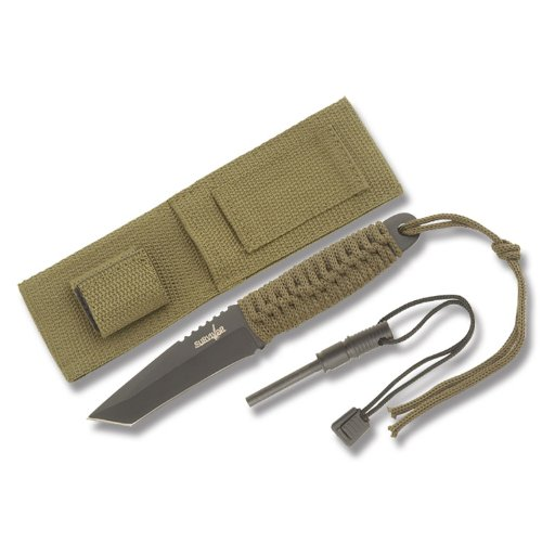 Survivor HK-106T Fixed Blade Knife with Fire Starter 8-Inch Overall, Outdoor Stuffs