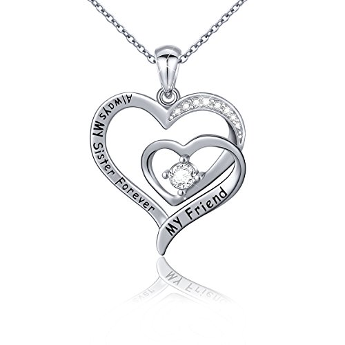 Ladytree S925 Sterling Silver Always My Sister Forever My Friend Love Heart Pendant Necklace