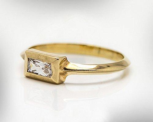 Handmade Stacking 9k or 14k Gold Engagement Ring For Women, April Birthstone Crystal Quartz Gemstone Bridal Ring. Customized :Material,Gemstones and Ring Size (14k April Birthstone Ring)