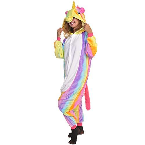 Angelina Plush Animal Sleep Lounge Wear, Rainbow Unicorn, S/M]()