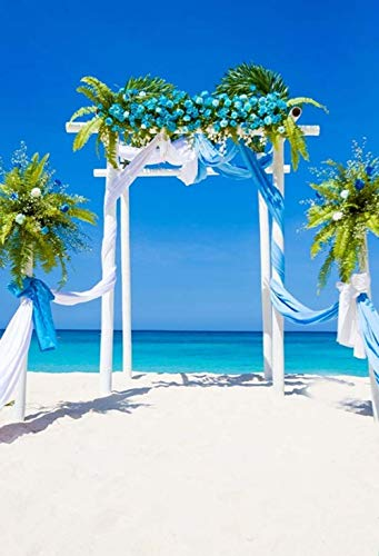 Gardenia - Fondo para ceremonia de boda de 5 x 7 pies, fondo de playa de arena para fotografía, flores, puerta de novia,...