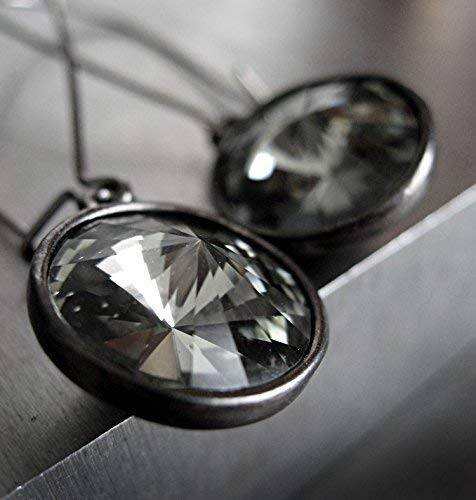 - Rivoli Crystal Earrings with Black Diamond Swarovski Crystals - Gunmetal Plated Bezels