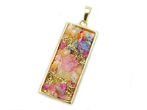 jennysun2010 Colorful Druzy Quartz Rectangle Pendant Necklace Healing Charm Beads Gold Plated 2 Pcs per Bag for Necklace Earrings Jewelry Making Crafts Design ()