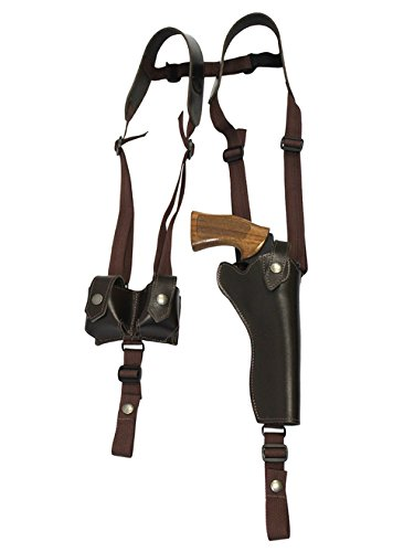 Barsony New Vertical Brown Leather Shoulder Holster w/Speed-Loader Pouch for Taurus 66 607 627 Tracker (7 Shot) Right