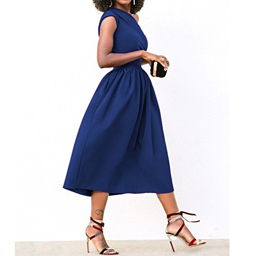 Blue Sexy For Off Pocket Dress Party With One Formal Women Midi BetterGirl Gown Shoulder Prom 6pwqFd