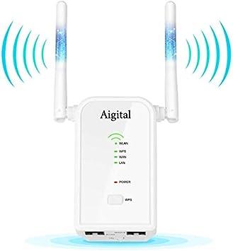 Aigital 300Mbps Repetidor WiFi Router inalámbrico Long Range Booster con 2 Puert Ethernet Fast, Configuración Fácil, 2.4GHz Compatible con Todos los Routers WLAN habituales: Amazon.es: Electrónica