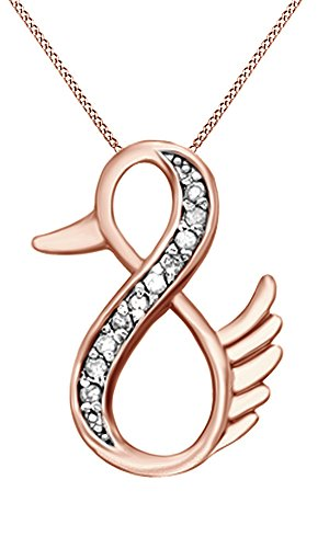 Jewel Zone US Natural Diamond Duck Infinity Pendant Necklace 14k Gold Over Sterling Silver 1 10 Ct