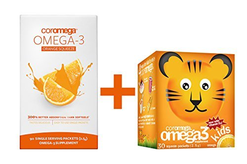 Coromega Family Pack, 90 Count Orange Omega 3 Fish Oil Suppl