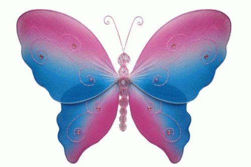 Hanging nylon butterfly craft nursery bedroom girls room ceiling wall decor, wedding birthday party baby bridal shower decorations - Serenity Butterfly Decoration - 5