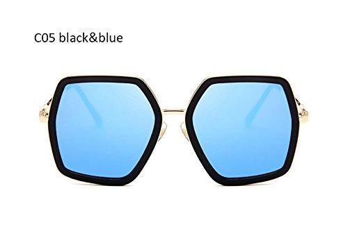 de Azul Mujer Sexy Señoras Moda Cuadrado Espejo para de Sol Mujeres Azul Negro Gafas Sol Negro Gafas UV400 Gafas Vintage ZHANGYUSEN de gradiente Z7B04qww