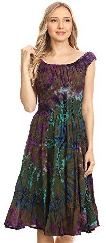 Alba Midi Broderie Sakkas Ruffle The Olive Tie Off Shoulder Smock Femmes Dye Dress amp; TwqAwdR