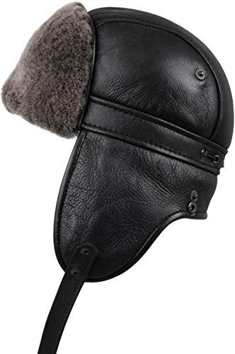 (Zavelio Unisex Shearling Sheepskin Aviator Russian Ushanka with Snap Hat Large Black)
