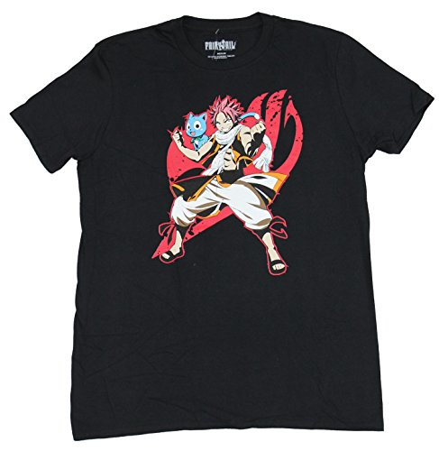Fairy Tail: Natsu and Happy Guild Emblem Black T-Shirt, Adult Small