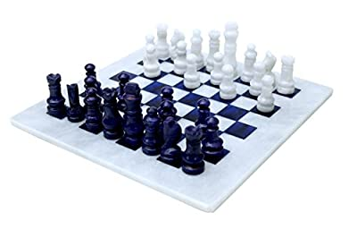 RADICALn Handmade White and Blue Marble Full Chess Game Original Marble Chess Set