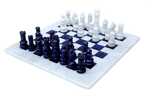 RADICALn Handmade Marble White and Blue Weighted Classic Most Popular Chess Board Game Set for Adults - Non Checker Non Go Non Othello - Best Women Ambassador Staunton Chess Play Game Sets ()