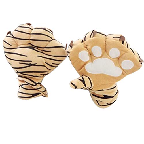 Halloween Costume Gloves, C.A.Z Exaggerated Fuzzy Warm Wild Animal Plush Gloves Tiger Bear Leopard Paw Cat Claw Hand Gloves