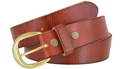 Women's Full Grain Casual Leather Belt Polished Solid Brass Buckle 1-1/2
