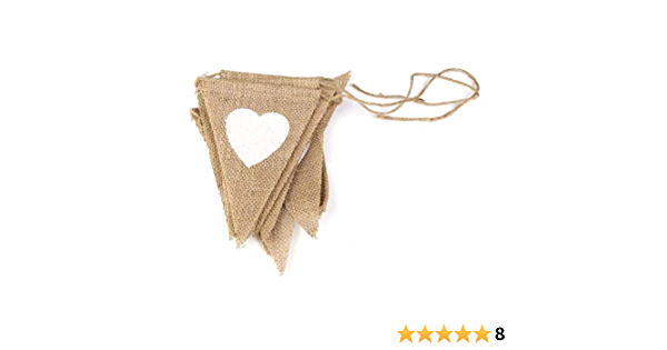 Heart Jute Burlap Bunting Banner 13 Flags set  Home Decor Wedding Valentines Day