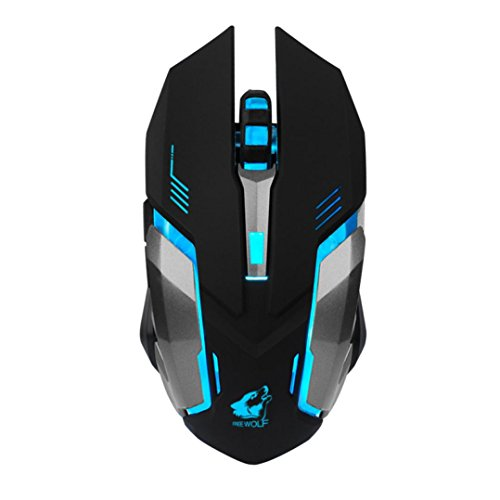 Fullfun FREE WOLF Rechargeable X7 Wireless Sound off LED Backlit USB Optical Gaming Mouse (Black) ()