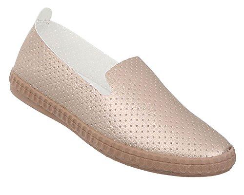 Damen Schuhe Halbschuhe Perforierte Sportliche Slipper Beige