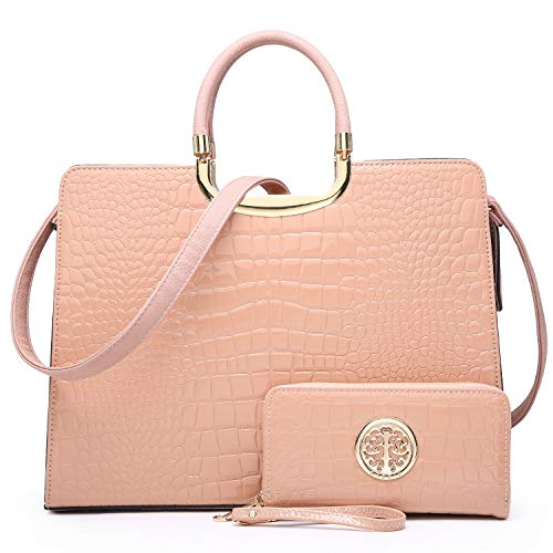 Fashion Vegan Leather Handbags for Women Satchel Tote Purse Shoulder Bag with Coin Wallet,Croc Leather-pink
