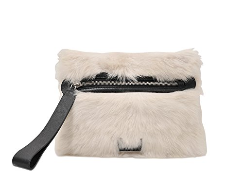- Marc by Marc Jacobs Lamb Fur Square Clutch, Off-White/Black
