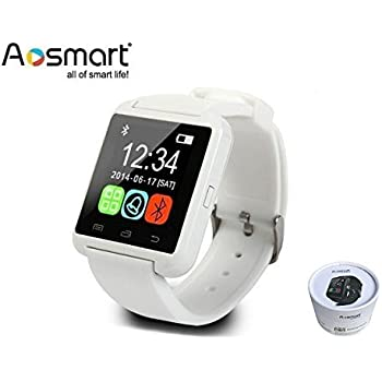 Bluetooth Smart Watch, Aosmart U8 Smartwatch Android Smartphones - White